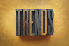 Trends. The word TRENDS written in vintage letterpress type Stock Image