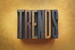 Trends. The word TRENDS written in vintage letterpress type stock image