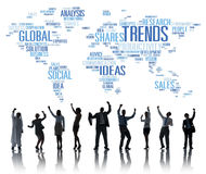 Trends World Map Marketing Ideas Social Style Concept Stock Photography