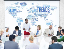 Trends World Map Marketing Ideas Social Style Concept Royalty Free Stock Images