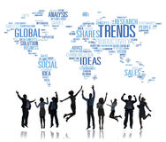 Trends World Map Marketing Ideas Social Style Concept Stock Image
