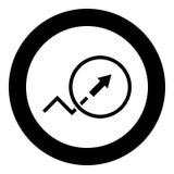 Trendu lub przyrosta ikony czerni szyldowy kolor w okręgu Fotografia Royalty Free