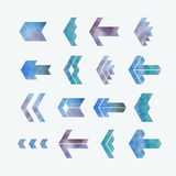 Trendy abstract arrow icons' set. Geometrical polygon, triangle shaped symbols in hipster style Stock Photos