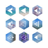 Trendy abstract arrow icons' set. Geometrical polygon, triangle shaped symbols in hipster style Stock Image