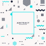 Trendy abstract art geometric background with flat, minimalistic Memphis style. Vector poster with elements. Trendy abstract art geometric background with flat Royalty Free Stock Image