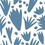 Trendy abstract blotch shape seamless pattern. Modern shapes or tropical leaves. Concept contemporary fabric textile design on white background royalty free illustration