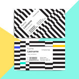 Trendy abstract business card templates. Modern corporate statio. Nary id layout with geometric stripes pattern. Vector fashion background design with Stock Photography