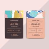 Trendy abstract business card templates. Modern luxury beauty sa Stock Photos