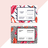 Trendy abstract business card templates. Modern luxury beauty sa. Lon or cosmetic shop layout with artistic lips pattern. Vector fashion glamour background Royalty Free Stock Photo