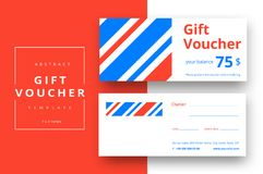 Trendy abstract gift voucher card templates. Modern discount cou. Pon or certificate layout with artistic stroke pattern. Vector fashion bright background design Royalty Free Stock Photos