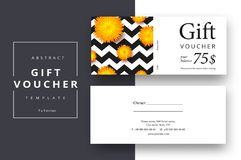 Trendy abstract gift voucher card templates. Modern discount cou. Pon or certificate layout with artistic stroke pattern. Vector fashion bright background design Stock Photography