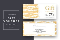 Trendy abstract gift voucher card templates. Modern discount coupon or certificate layout with artistic stroke pattern. Vector fa. Shion bright background design stock illustration