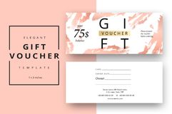 Trendy abstract gift voucher card templates. Modern discount cou. Pon or certificate layout with artistic stroke pattern. Vector fashion bright background design Royalty Free Stock Image