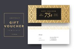 Trendy abstract gift voucher card templates. Modern discount cou. Pon or certificate layout with artistic stroke pattern. Vector fashion bright background design Royalty Free Stock Photography
