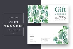 Trendy abstract gift voucher card templates. Modern discount cou. Pon or certificate layout with artistic stroke pattern. Vector fashion bright background design Stock Photo