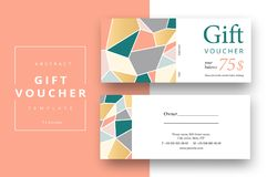 Trendy abstract gift voucher card templates. Modern discount cou. Pon or certificate layout with artistic stroke pattern. Vector fashion bright background design Stock Photos