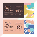 Trendy abstract gift voucher card templates. Modern luxury disco. Unt coupon or certificate layout with artistic brush stroke pattern. Vector fashion luxury Royalty Free Stock Images