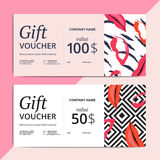 Trendy abstract gift voucher card templates. Modern luxury discount coupon or certificate layout with artistic brush stroke pattern. Vector fashion background Royalty Free Stock Photos