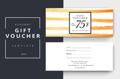 Trendy abstract gift voucher card templates.. Modern discount coupon or certificate layout with artistic stroke pattern. Vector fashion bright background design Stock Images