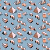 Trendy Abstract Memphis Seamless Pattern with 3d Geometric Shapes. Fashion Background for Textile, Print, Cover, Poster. Vector illustration Royalty Free Stock Image