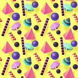 Trendy Abstract Memphis Seamless Pattern with Realistic 3d Elements.  Stock Image