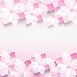 Trendy abstract pink background with 3d sakura flo. Trendy abstract floral pink background with stylized 3d sakura flower. Stylish modern background. Invitation Stock Photo