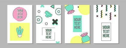 Trendy Abstract Posters in Memphis Style with Geometric Shapes and Cactus.. Minimalistic Elements Patterns, Banners, Invitations. Vector illustration Stock Photography