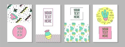 Trendy Abstract Posters in Memphis Style with Geometric Shapes. And Cactus. Minimalistic Elements Patterns, Banners, Invitations. Vector illustration Stock Photos