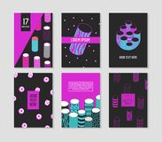 Trendy Abstract Posters Set with Cylinder Shapes and Place for your Text. Hipster Geometric Banners, Placards. Backgrounds 80-90 Vintage Style. Vector Stock Photos