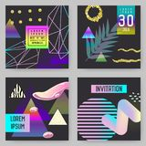 Trendy Abstract Posters Set with Place for your Text and Golden Elements. Hipster Geometric Banners, Backgrounds. Trendy Abstract Posters Set with Place for your Stock Image