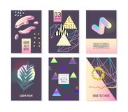 Trendy Abstract Posters Set with Place for your Text and Golden Elements. Hipster Geometric Banners, Placards. Backgrounds 80-90 Vintage Style. Vector stock illustration