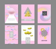 Trendy Abstract Posters Set with Place for your Text and Golden Fluid Elements. Hipster Geometric Banners, Placards. Backgrounds 80-90 Vintage Style. Vector stock illustration