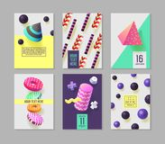 Trendy Abstract Posters Set with Place for your Text. Hipster Geometric Banners, Placards, Backgrounds 80-90 Vintage. Style. Vector illustration Stock Photo