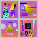 Trendy Abstract Posters Set with Place for your Text. Hipster Geometric Banners, Placards, Backgrounds 80-90 Vintage. Style. Vector illustration Stock Images
