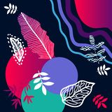 Trendy abstract print with tropical motifs. Silk scarf with palm leaves, circles and lines. Oriental textile collection stock illustration