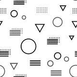 Trendy abstract seamless pattern with geometric shapes. Black, grey, white color Royalty Free Stock Image