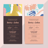 Trendy abstract wedding invitation cards templates. Modern luxur. Y romantic greeting cards layout with artistic brush stroke pattern. Vector hipster background Royalty Free Stock Photos