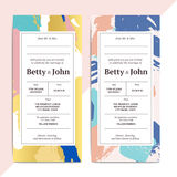 Trendy abstract wedding invitation cards templates. Modern luxur Stock Images