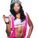 Trendy african american female rapper Stock Photo