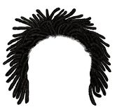 Trendy african long  hair dreadlocks . realistic  3d . fashion beauty style stock photo