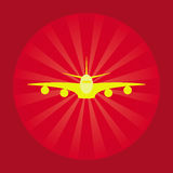 Trendy airplane icon. Yellow trendy airplane icon with red background Stock Photos