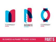 Trendy alphabet icon set Stock Image