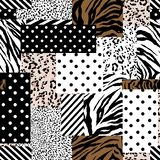 Trendy animal skin mixed with geometric pattern ,polka dots and stripe in modern patchwork collage style seamless design vector illustration
