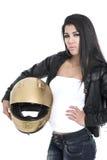 Trendy Asian biker girl Stock Images