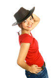 Trendy Asian female in leather hat Stock Photo