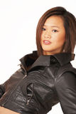Trendy asian girl in jacket Royalty Free Stock Image