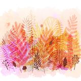 Trendy autumn exotic leaves watercolor background. Vector botanical illustration, Great design element for Stock Images