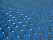 Trendy background with hexagons. 3d backgrounds of blue hexagons in metal sides Stock Images
