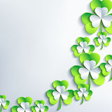 Trendy background for Patrick day with 3d leaf clover Royalty Free Stock Photo