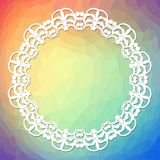 Trendy background on rainbow triangle area with a white lace frame Royalty Free Stock Photos